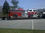 Fire Truck on Lowboy Trailer